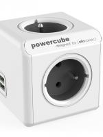 kostka rozbočovací POWERCUBE EXTENDED USB GREY 4 zásuvky, 2 USB porty, 1,5 m prodlužovací kabel